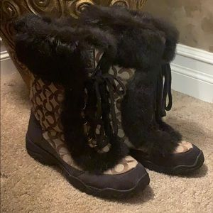 Coach Brown Fur Snowboots Boots Tan Warm 7 Quality